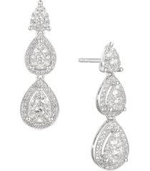 1 ct. t.w. round shape diamond drop earring in 14k white gold