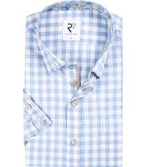 r2 shirt korte mouwen lichtblauw geruit
