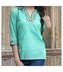 cotton blouse, 'cool garden' (india)