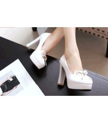 pp421 sweet bowtie pumps, square heels, pu leather , size 4-10, white