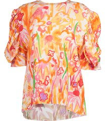 3/4 sleeve abstract print blouse