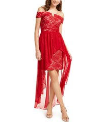morgan & company juniors' off-the-shoulder asymmetrical gown
