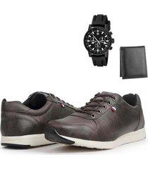sapatênis casual masculino + carteira + relógio moderno - masculino