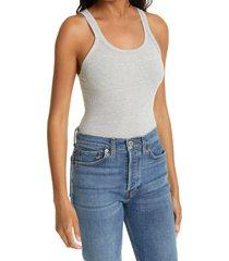 women's re/done x hanes slim fit rib tank, size large - grey