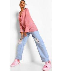 chiffon blouse met waterval hals, rose pink