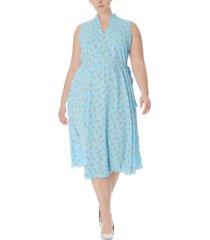 anne klein plus size albertine printed drawstring midi dress