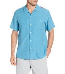 men's tori richard santa notes classic fit silk blend button-up shirt, size x-large - blue
