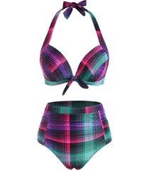 halter knot plaid ruched moulded bikini swimwear