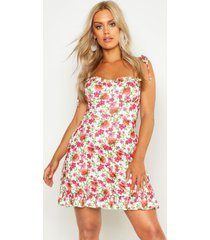 plus floral ruched cup skater dress, sage