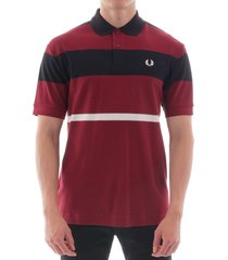 fred perry bold stripe polo shirt - dark red m7504