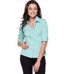 camisa intens manga 3/4 algodão verde