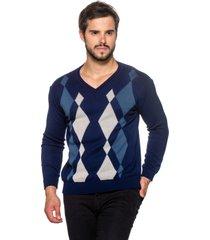 suéter officina do tricô losango azul. - kanui