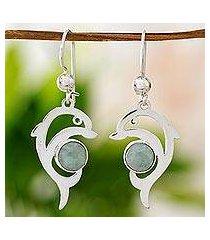 jade dangle earrings, 'apple green dolphin' (guatemala)