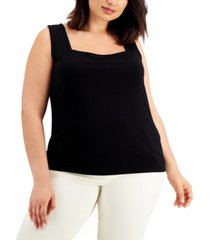 alfani plus size square-neck sleeveless top, created for macy's