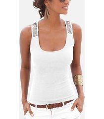 blusa sin mangas redonda con adornos de lentejuelas blancas cuello