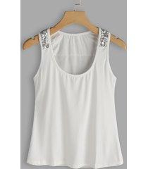 white sequins embellished round neck sleeveless top