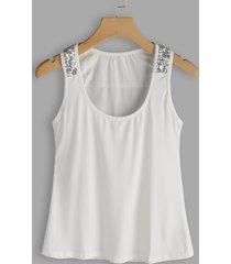 blusa sin mangas lentejuelas blancas adornadas redondas cuello