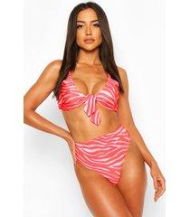 zebra tie front high waist bikini, red