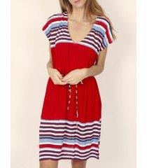 korte jurk admas elegante stripes korte mouwen zomerjurk rood adma's