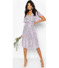 bridesmaid sequin cape detail midi dress, lilac