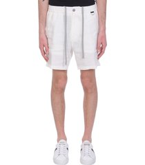 low brand taylor shorts in white linen