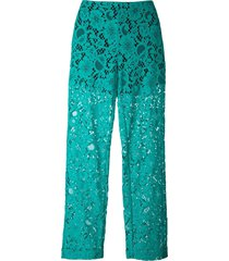msgm semi-sheer lace trousers - green