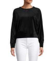 juicy couture women's velour long-sleeve top - black - size xs