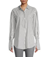 frame women's whitney popover striped top - white black - size s