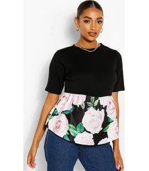 maternity floral print contrast smock top, black