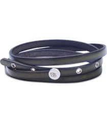 degs & sal men's leather wrap bracelet in stainless steel