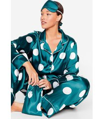 womens my spotlight plus satin 5-pc pajama set - emerald