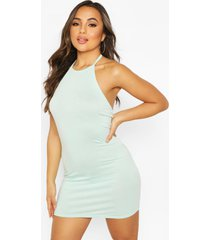 petite halterneck mini dress, mint