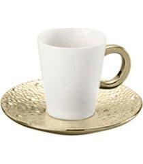 jogo de 12 pçs xícaras para café com pires de porcelana drop dourada 100ml lyor