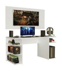 mesa gamer madesa 9409 e painel para tv até 50 polegadas branco cor:branco
