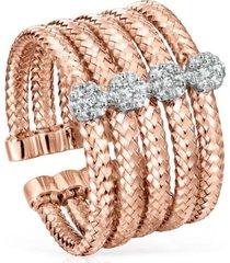 anillo light de oro rosa con diamantes tous