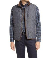 men's peter millar essex water repellent quilted traveler vest, size medium - grey