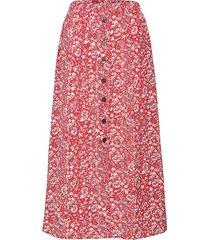 onlnova lux button skirt aop wvn 7 knälång kjol röd only