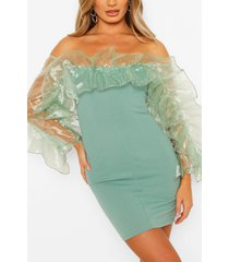 extreme organza ruffle off the shoulder mini dress, mint