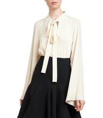 giambattista valli women's bell-sleeve tieneck blouse - ivory - size 40 (6)