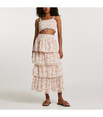 river island womens pink shirred floral tiered maxi skirt