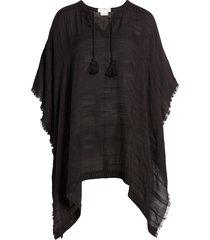 women's treasure & bond tassel trim poncho, size one size - black