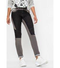 skinny jeans tweekleurig in bikerstijl