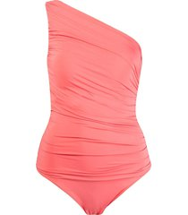 brigitte one shoulder draped swimsuit - yellow