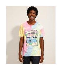 camiseta lilo e stitch estampada tie dye manga curta gola careca multicor