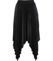 givenchy midi pleated handkerchief skirt in black synthetic leather