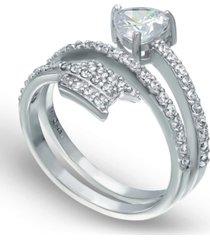 cubic zirconia arrow wrap ring in fine silver plate