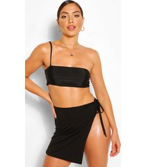 tie side jersey beach sarong, black