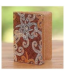 batik cotton and faux leather passport case, 'brown star' (indonesia)