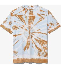 proenza schouler white label tie dye short sleeve t-shirt tobacco/sky blue border tie dye xs