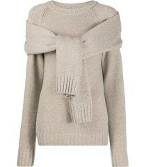 eudon choi tie-front sweater - neutrals